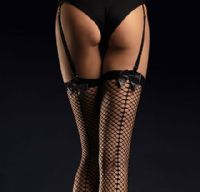 Black Fishnet Stockings with Satin Bows and Seams, Fiore Satine